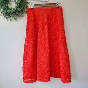 Banana Republic Orange Lace Midi Length Skirt 6